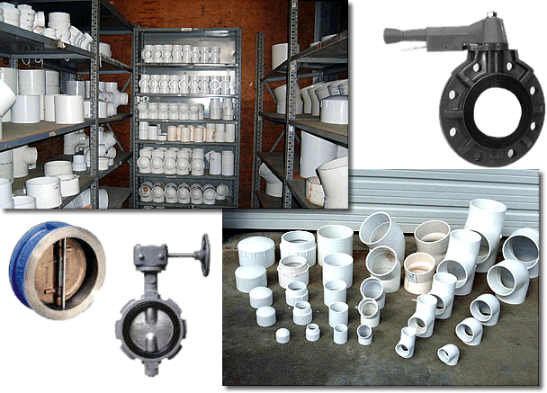 PVC pipe valves and fittings